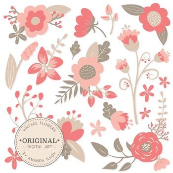 Premium Vintage Floral Clipart & Flower Vectors - Coral Fl