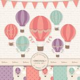 Premium Vintage Hot Air Balloon Clip Art & Digital Papers Set - Vintage Balloons