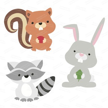 Premium Woodland Animals Clip Art & Vectors - Woodland Clipart, Forest Clipart
