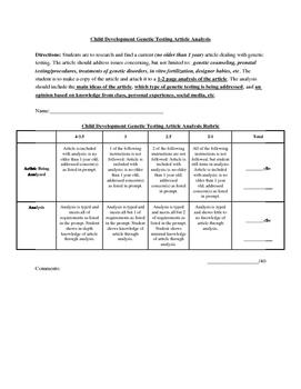 Prenatal Genetic Testing Article Analysis
