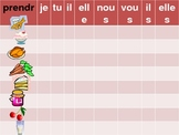 Nourriture (Food in French) Prendre and partitive PowerPoint Connect 4 game