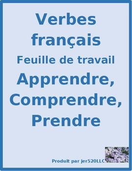 Prendre, apprendre, comprendre French verbs worksheet 1