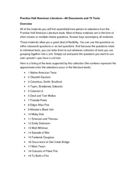 Prentice Hall American Literature Resources