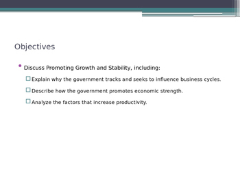 Prentice Hall Economics Ch 3 Sec 2 Promoting Growth and Stability