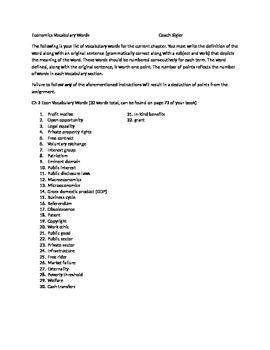 Prentice Hall Economics Ch 3 Vocabulary Sheet American Free Enterprise