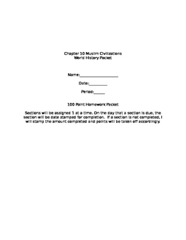 Prentice Hall World History Chapter 10 Muslim Civilizations Homework Packet
