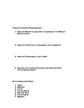 Prentice Hall World History Chapter 7 the Rise of Europe Homework Packet