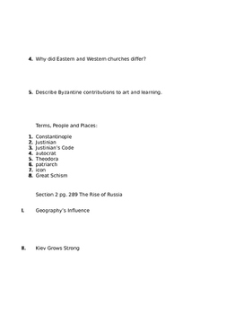 Prentice Hall World History Chapter 9 The Byzantine Empire Homework Packet