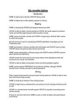 Prep English Report Comments - Semester One - Australian Curriculum