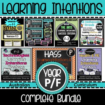 Prep/F All Mathematic Strands Learning INTENTIONS & Success Criteria BUNDLE!