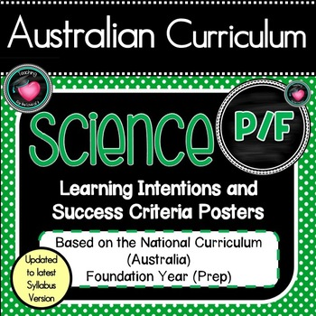 Prep/F All SCIENCE Learning INTENTIONS/success criteria posters Aust Curric.