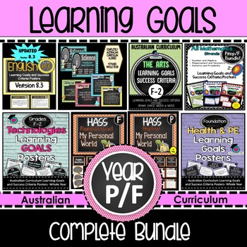 Prep/F  Learning GOALS & Success Criteria. All SUBJECTS (Aus. Curric) Bundled!