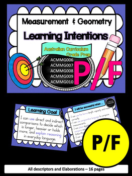 Prep/F – Measurement & Geometry Learning INTENTIONS & Success Criteria Posters