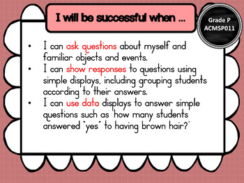 Prep/F – Statistics & Probability Learning INTENTIONS & Success Criteria Posters