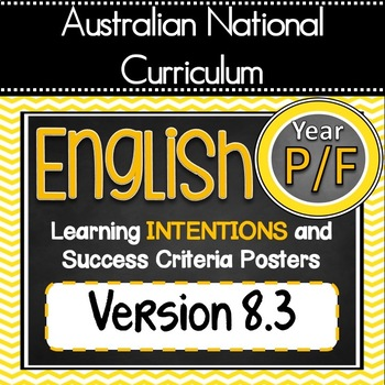 UPDATED V8.3 - Prep/Foundation - All English Learning INTENTIONS Posters. AC
