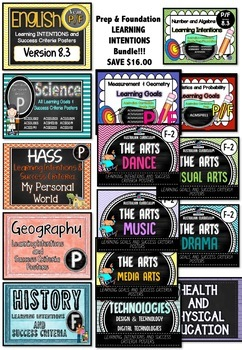 Prep & Foundation BUNDLE - All SUBJECTS Learning INTENTIONS