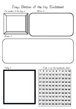Prep Number of the Day Worksheet