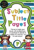 Prep Subject Title Pages –Free – Animals