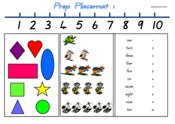 Prep or Foundation Level Placemat 1