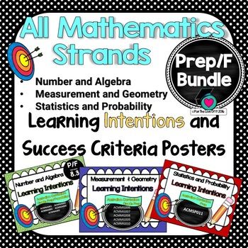 Prep or Foundation Maths Learning INTENTIONS & Success Criteria Posters BUNDLED!