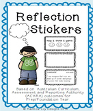 Prep/Foundation Year Reflection Stickers- based on ACARA outcomes
