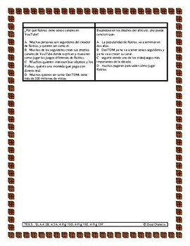 Spanish STAAR Reading passage: texto informativo: Roblox