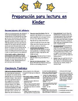 Preparación para lectura en Kínder (Kindergarten Reading Readiness)