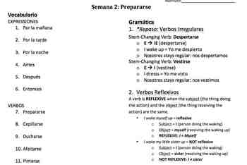 Prepararse - Spanish Reflexive Verbs, Week Unit