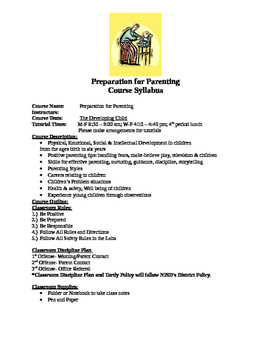 Preparation for Parenting Syllabus
