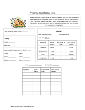 Prepare Your Holiday Meal PBL
