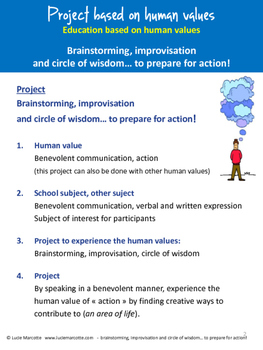 Brainstorming, improvisation, circle of wisdom-3 projects based on human values!