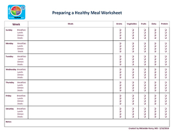 Preparing a Healthy Meal Worksheet