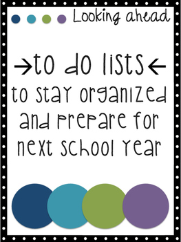 Preparing for Next Year 'To-Do' Lists
