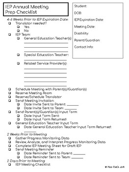 Preparing for Special Education IEP Meetings Forms and Checklists