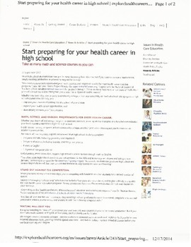 Preparing for a Career in Health Care