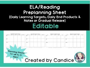 Preplanning Teacher Worksheet [EDITABLE]