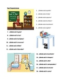 Preposiciones (Prepositions in Spanish) worksheet