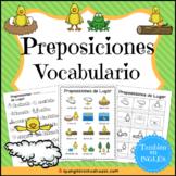 Preposiciones Vocabulario {Spanish Positional Words Vocabulary}