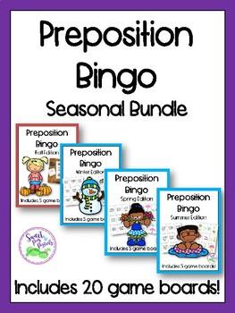 Seasonal Bundle of Preposition Bingo