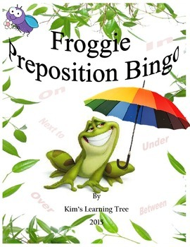 Preposition Bingo-Showing Location Froggie Bingo & Froggie Caller Cards