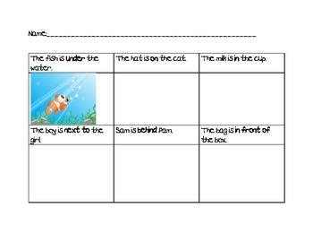 Preposition Coloring Activity