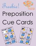 Preposition Cue Cards Freebie! Speech Language, Autism, Ea