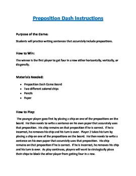 Preposition Dash Grammar Game