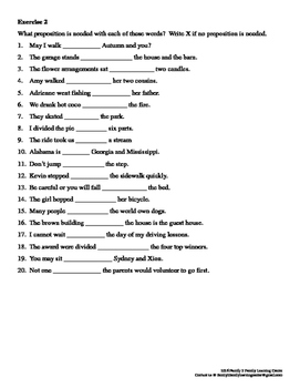 Preposition Exercises Worksheet