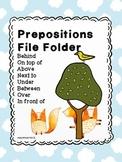 Preposition File Folder for special education or speech