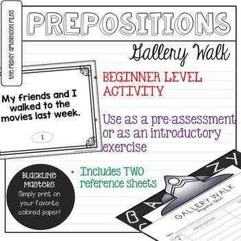 Preposition Gallery Walk Activity