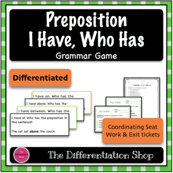 Preposition Game - I Have Who Has {Differentiated}