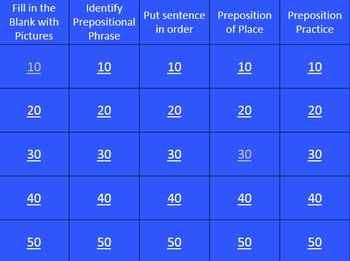 Preposition Jeopardy