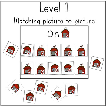 Preposition Match and Sort- Farm Theme