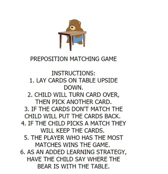Preposition Matching Game for Early Learning